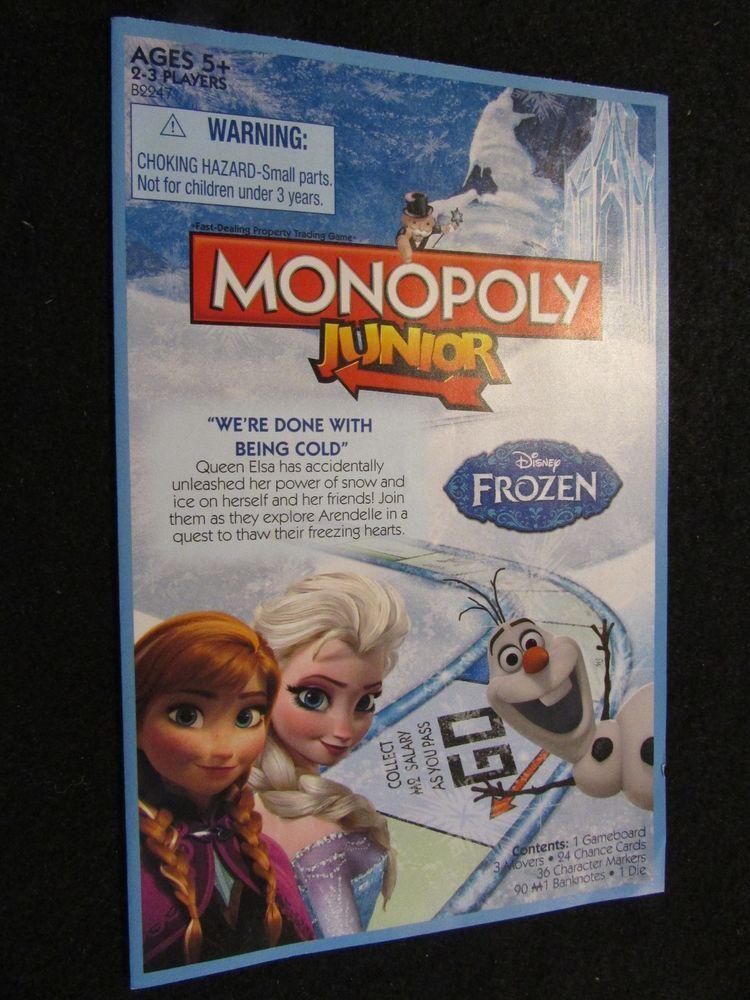 2014 Monopoly Junior Disney S Frozen Edition Game Rules Disney