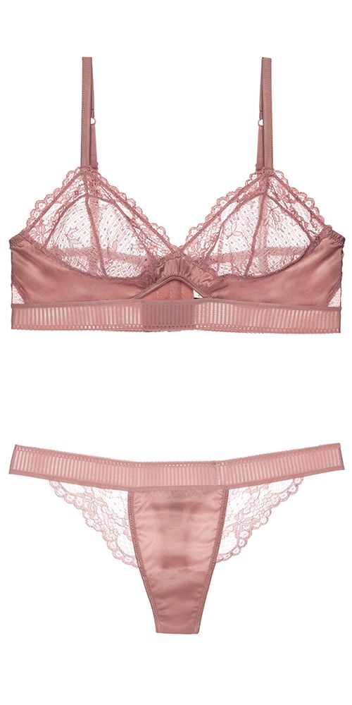 ccc0fb6e53d13 Dusty pink silk and lace lingerie. Lilly bralette set by Else ...
