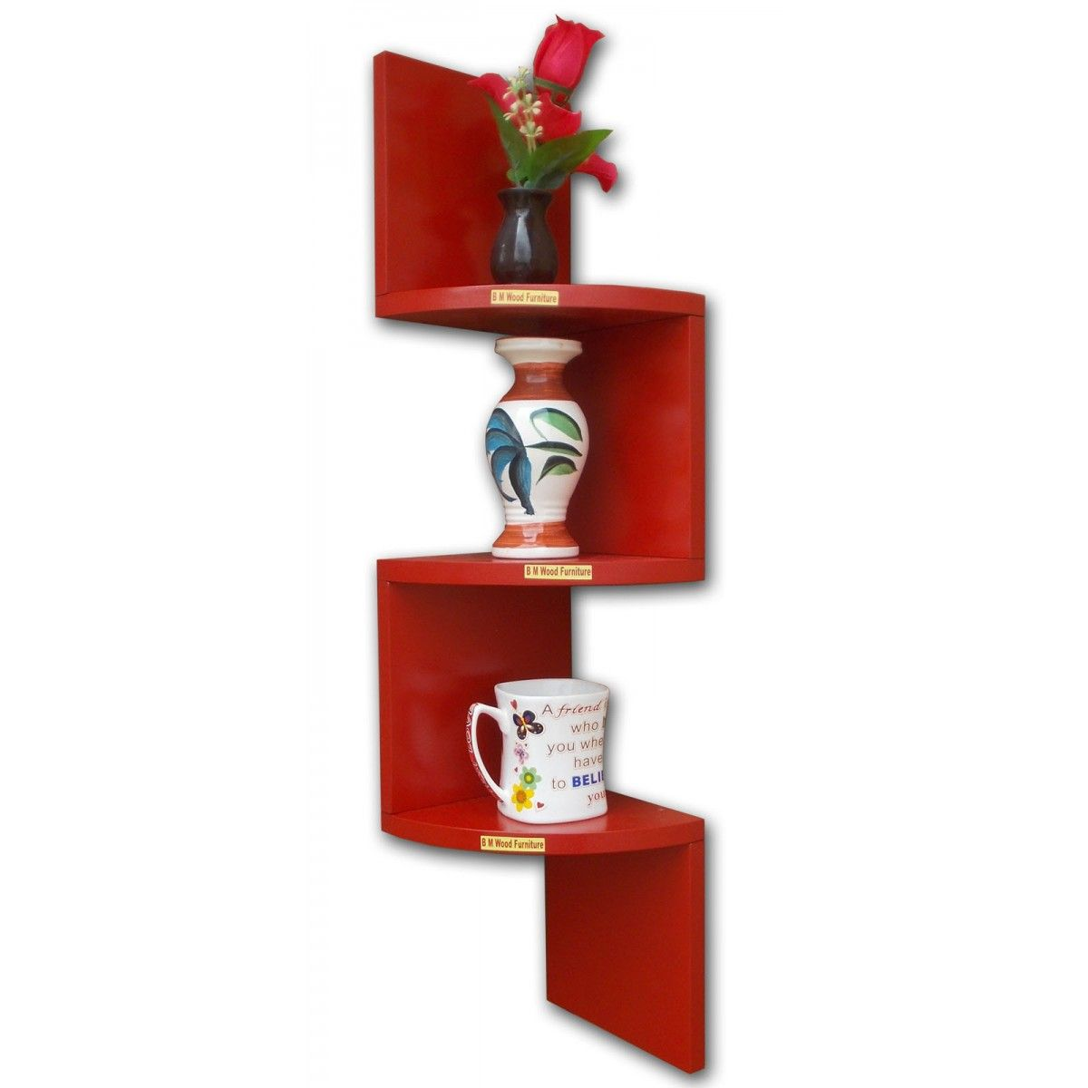 Curved Wall Shelves Bm Wood Furniture Zigzag Shaped 3 Curved Wall Corner Shelf Home
