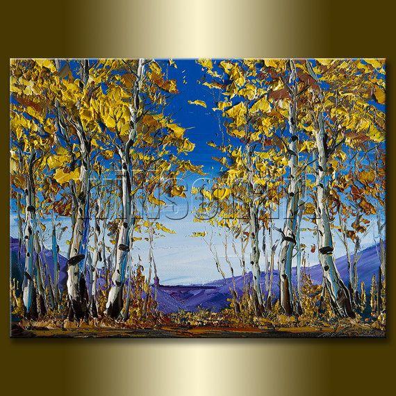 Original Autumn Birch Forest Landscape Painting Oil on ...