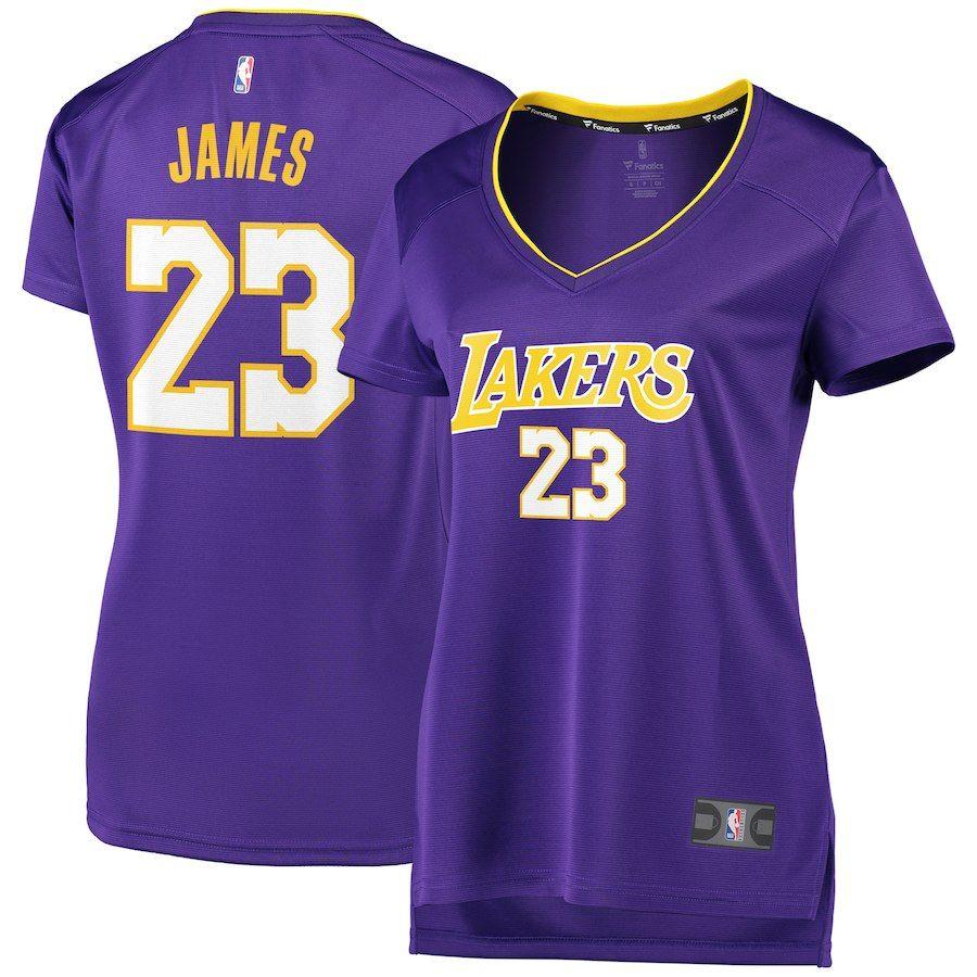 17a7fb23dd80 Women s Los Angeles Lakers LeBron James Fanatics Branded Purple 2017 18  Fast Break Replica Jersey – Statement Edition