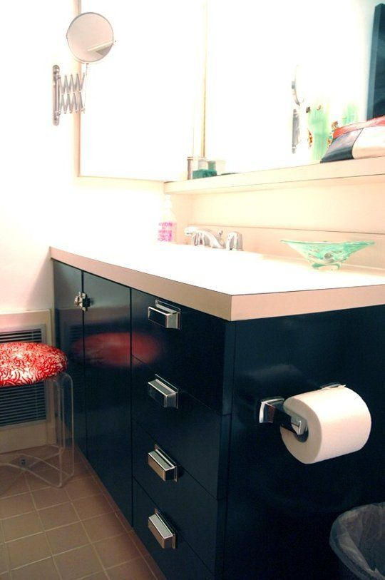 Laminate Bathroom Vanity Painted Navy Blue With Stainless Pulls And Lucite Stool