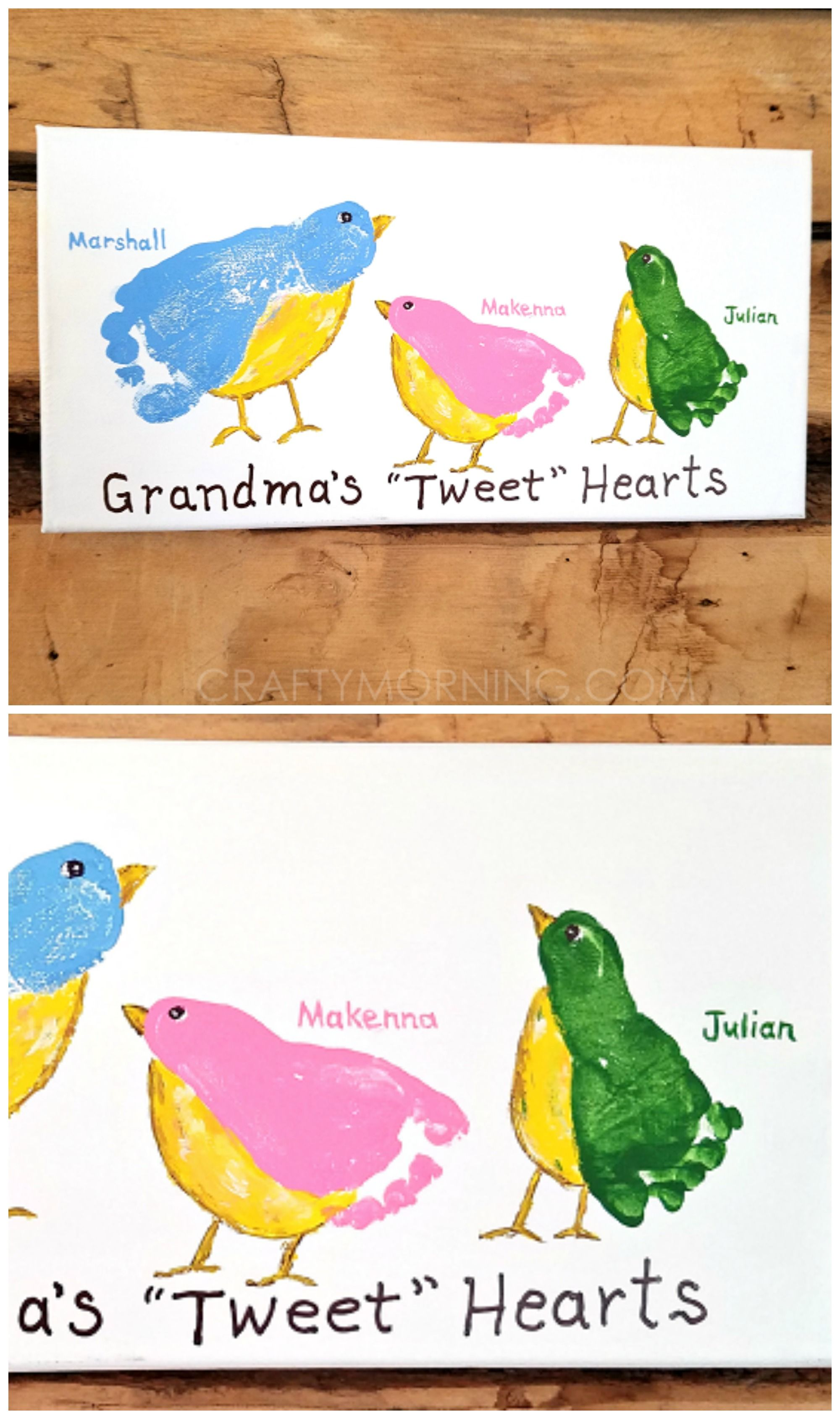 Grandmas tweet hearts footprint canvas what a cute gift from grandmas tweet hearts footprint canvas what a cute gift from the grandkids for negle