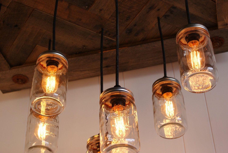 Edison bulb chandelier jar chandelier mason jar lighting edison bulb chandelier jar chandelier mason jar lighting upcycled wood vintage edison arubaitofo Image collections