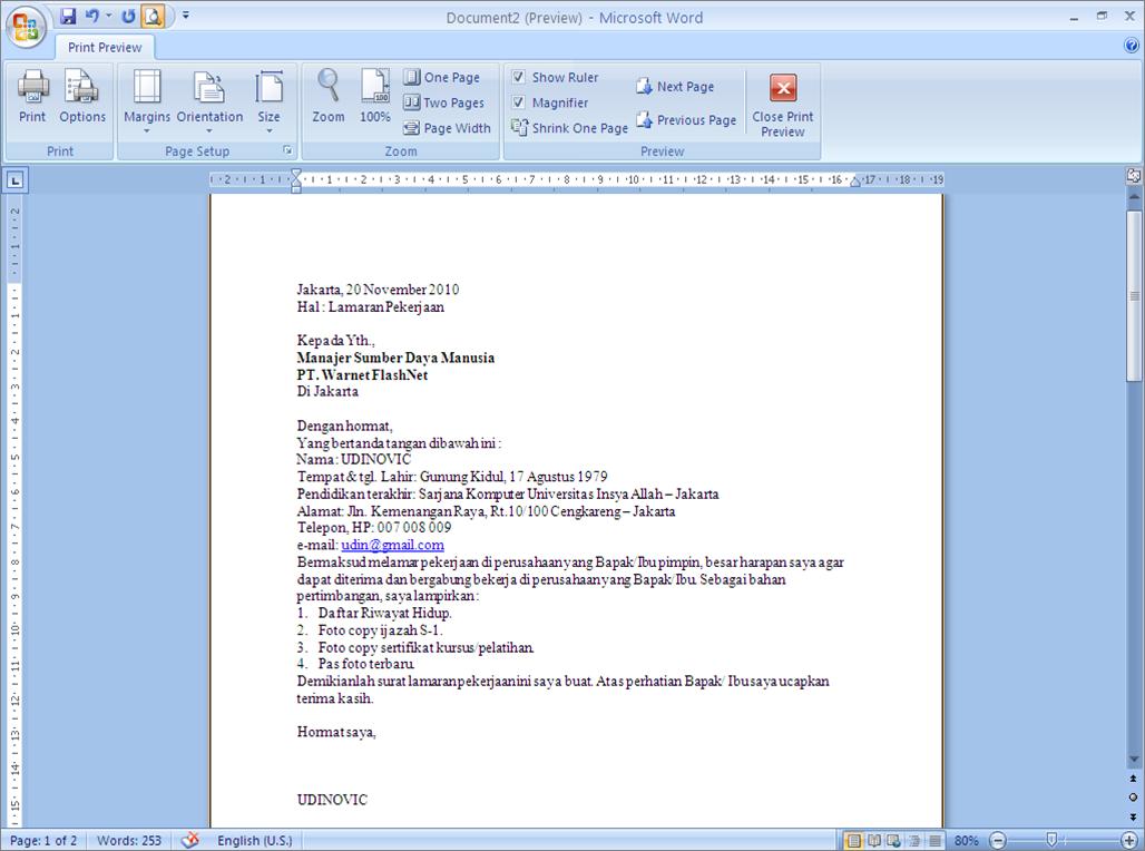 Ben Jobs Surat Lamaran Kerja Microsoft Word Surat Microsoft Tulisan