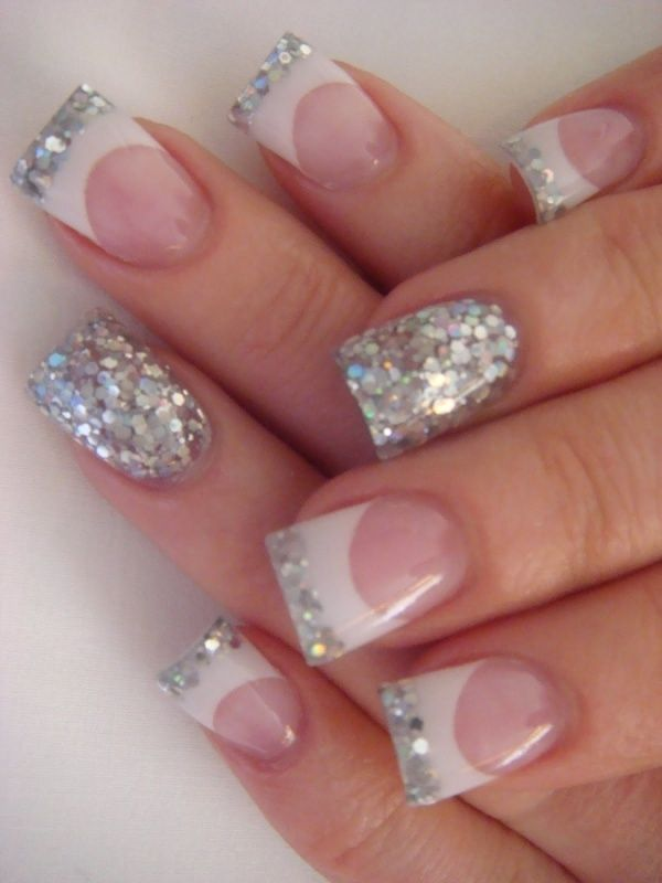 French Tip Nails with Glitter | nails | Pinterest | Manicure ...
