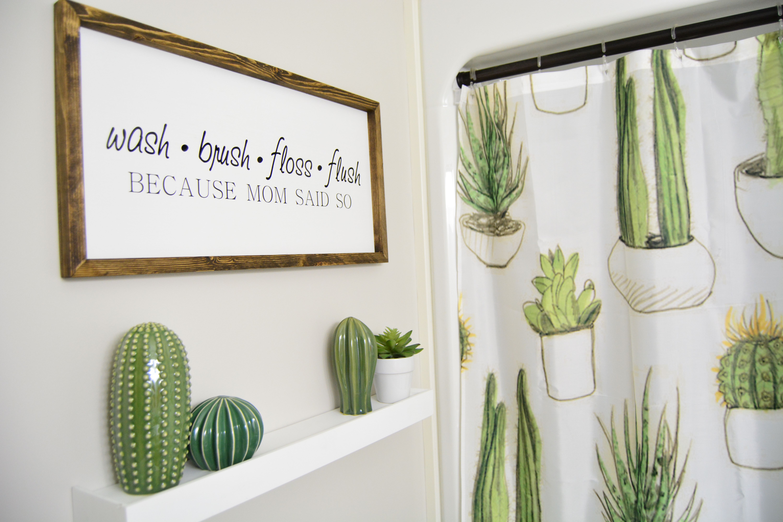 12x24 Wash Brush Floss Flush Wooden Sign Cactus Themed Bathroom Bathroom Decor Themes Restroom Decor Toddler Bathroom