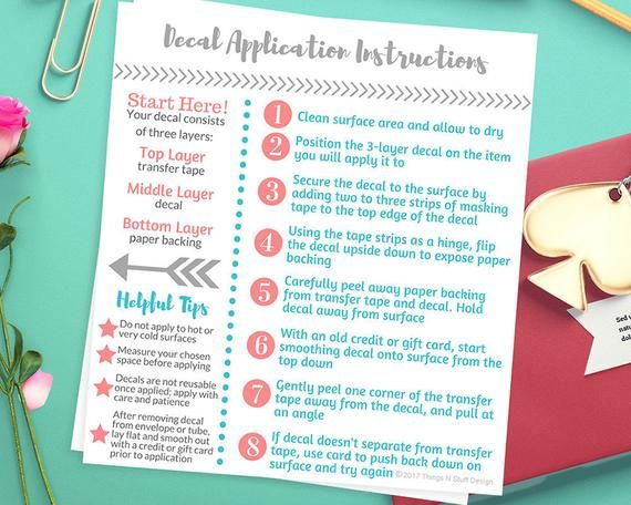 Decal Application Instructions, Care Card Printable, Care ...