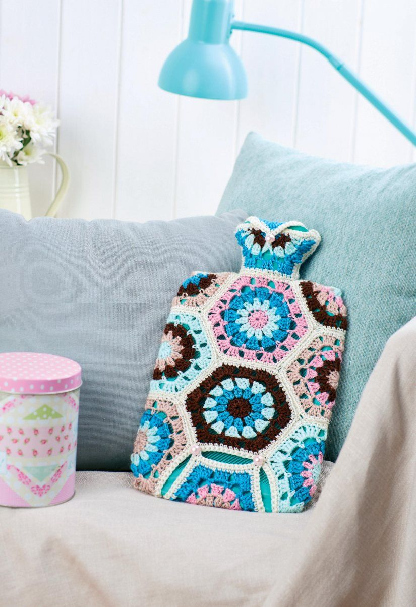 Love this hot water bottle cozy, made with granny hexes, fun to just ...