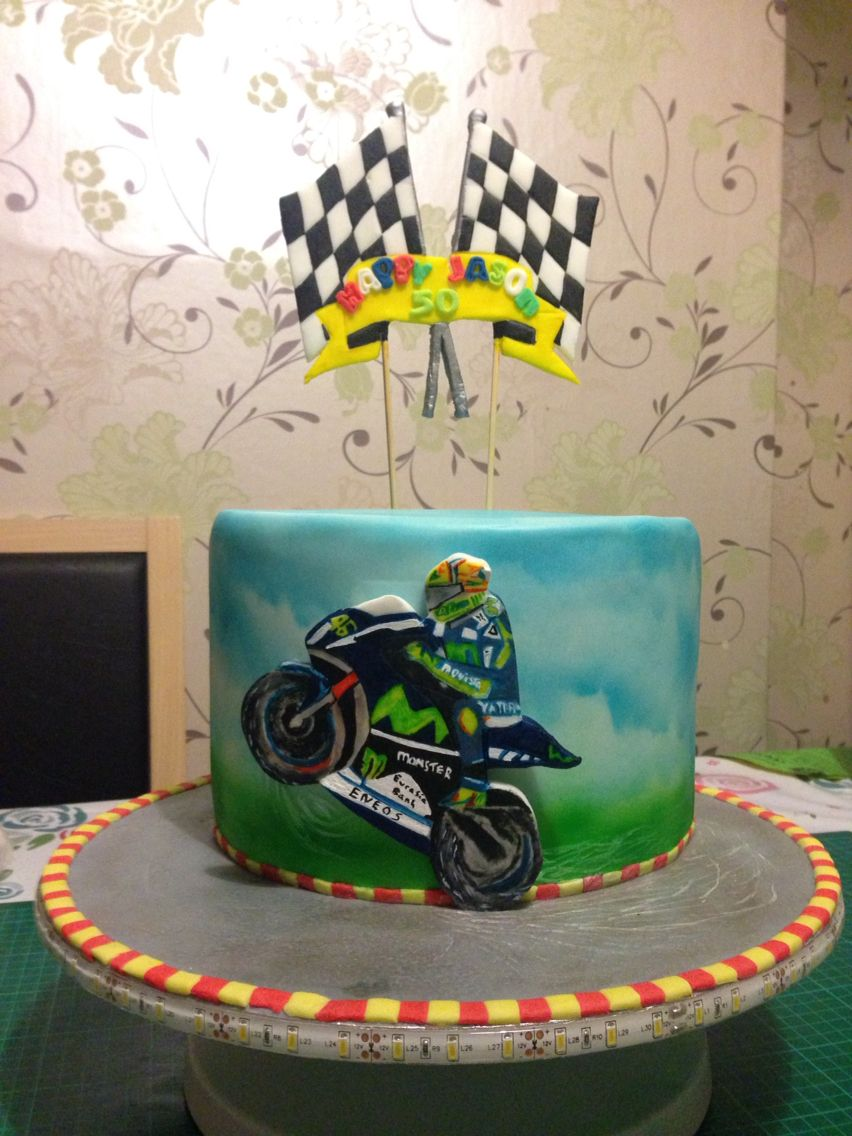Valentino Rossi Cake Made With White Chocolate Buttercream