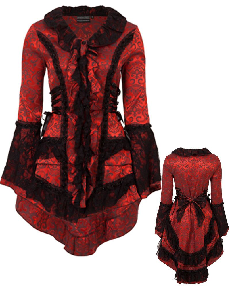 Victorian edwardian red black jacket damask tail coat corset ...