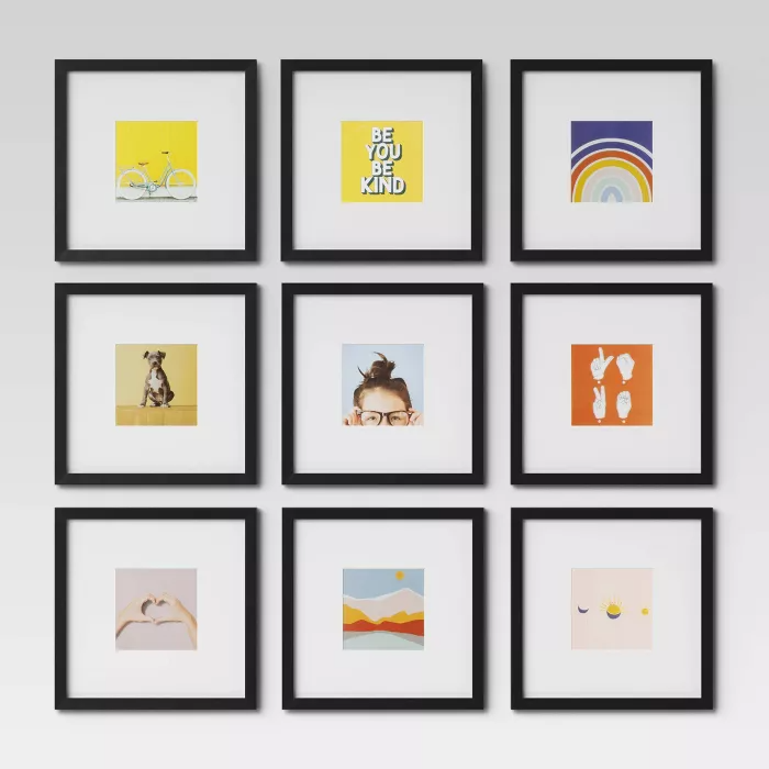Set Of 9 Gallery Frame Set 10 X 10 Matted To 5 X 5 Black Room Essentials In 2020 Gallery Frame Set Gallery Wall Frames Gallery Wall Layout