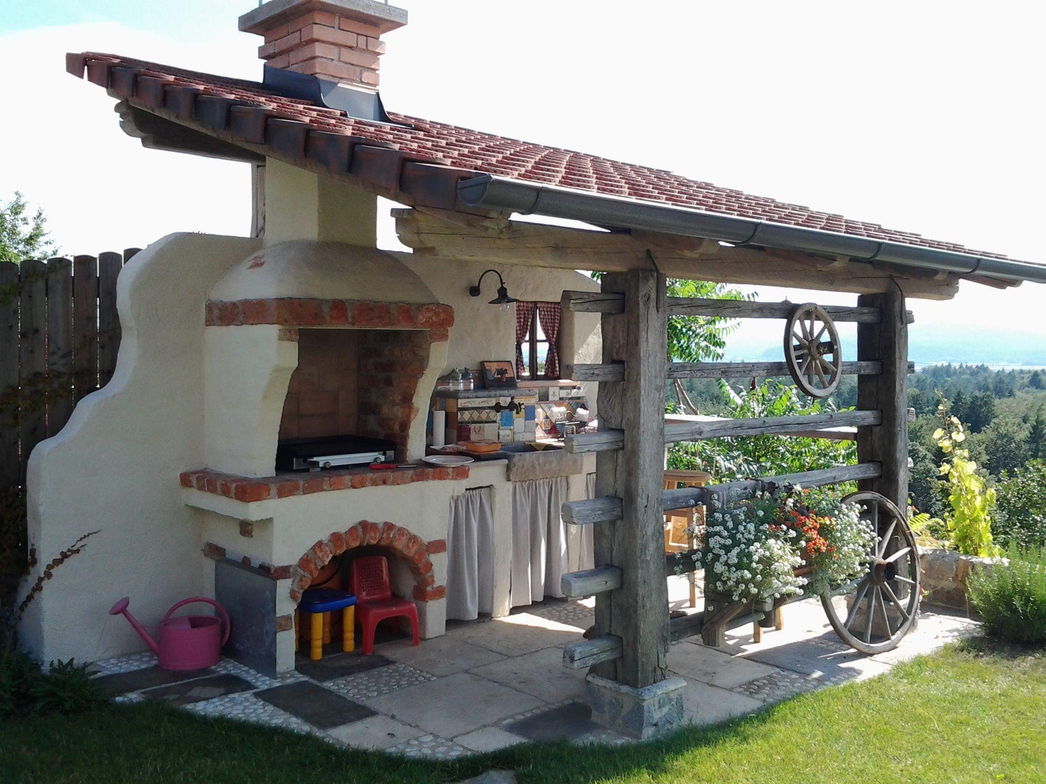 Kuchenzeile Fur Gartenhaus Bucătării Exterior Vatră Pentru Foc