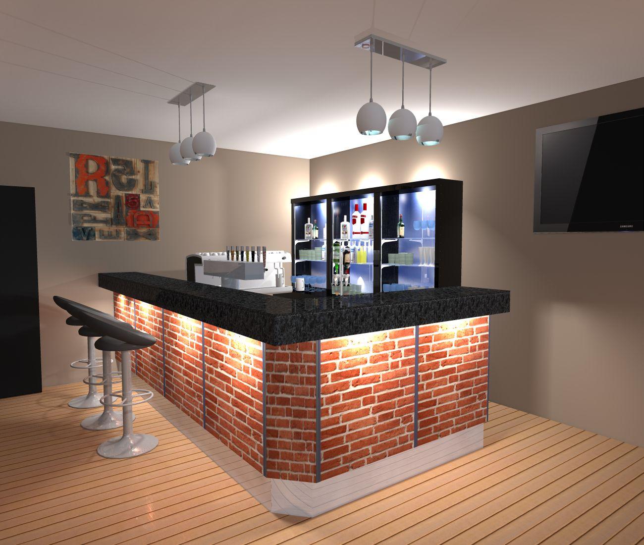 Amenagement De Bar Professionnel comptoir influence en l, façade décor papier briques rouges