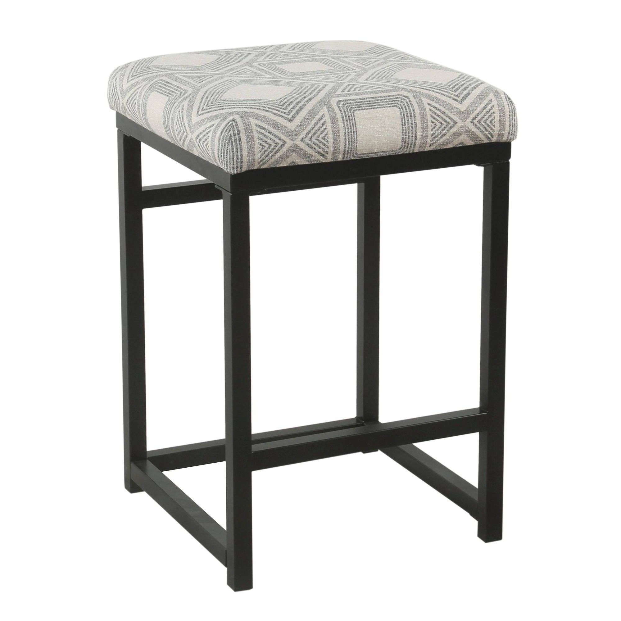 Metal Counter Stool With Geometric Pattern Fabric Upholste Seat