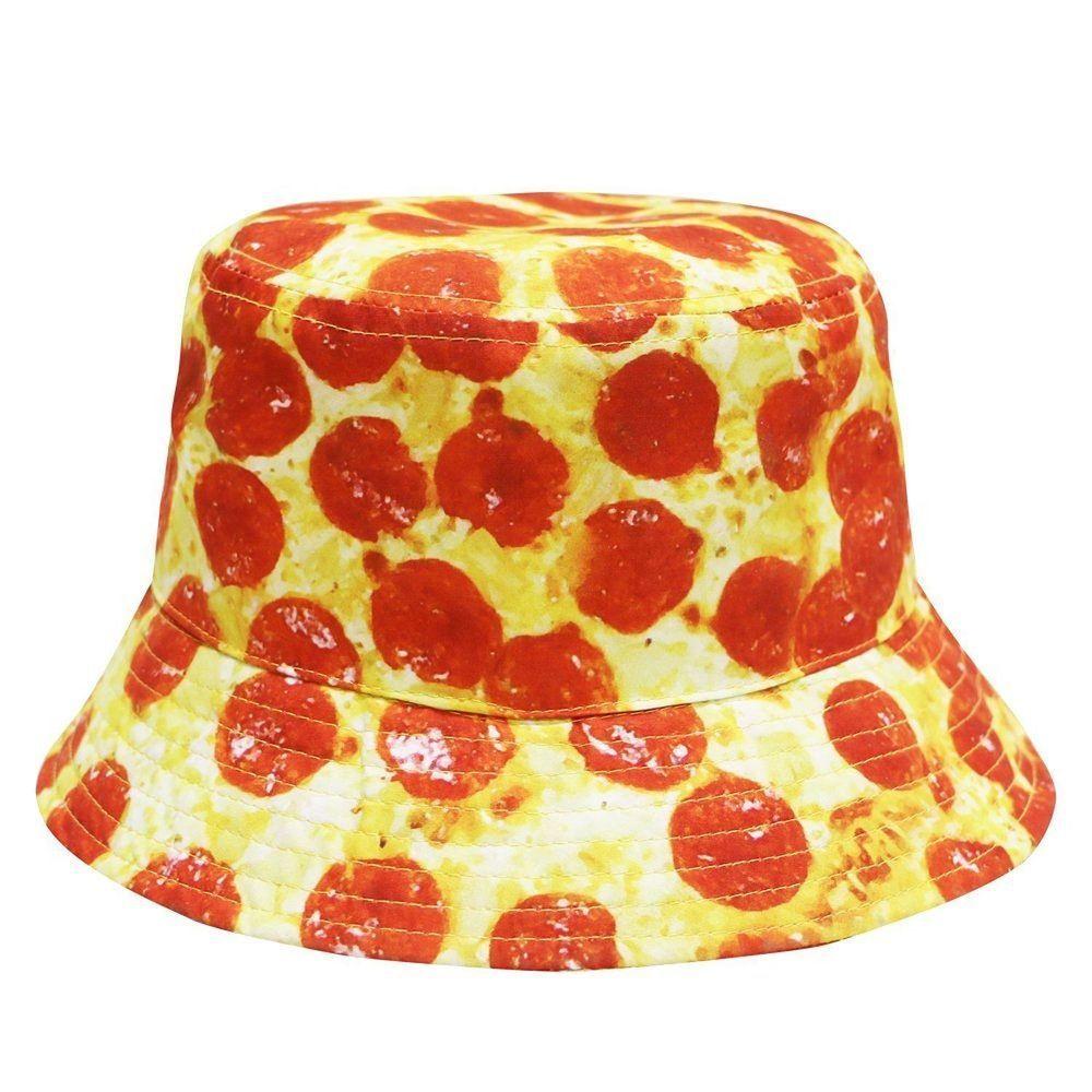 9415c4519ab PEPPERONI CHEESE PIZZA BUCKET HAT CAP BOONIE SUMMER OUTDOOR FAST FOOD SLICE  NWT  CityHunter  Bucket