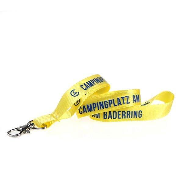 Promoschlüsselbänder  Material: Nylon  Breite: 15mm  Druck: Siebdruck  Verschlüsse: Standard Campingplatz am Bäderring