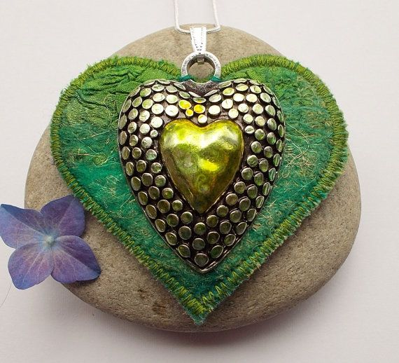 Hey, I found this really awesome Etsy listing at https://www.etsy.com/listing/189030999/textile-and-metal-heart-pendant-necklace