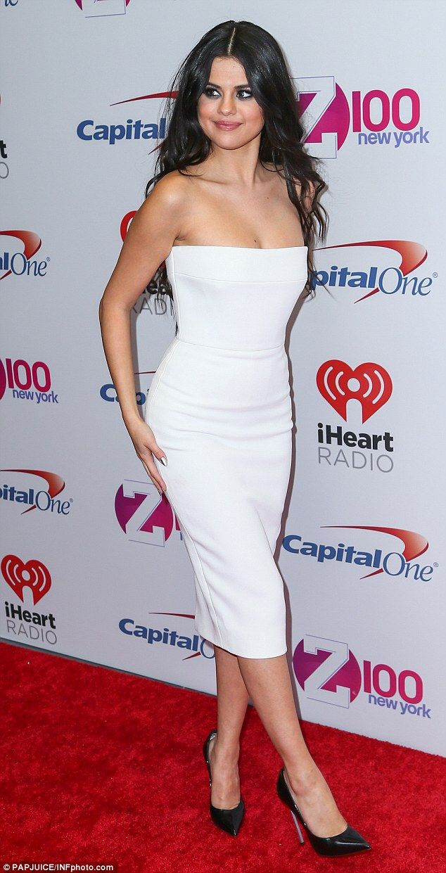 06550b017c1 Selena Gomez white strapless dress Jingle Ball Ny photo PAPJuice INFphoto  com