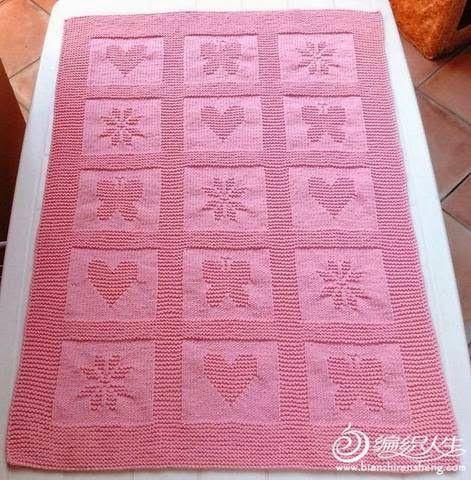 Patrones de manta infantil tejida con palillos cat - Patrones de mantas a crochet ...