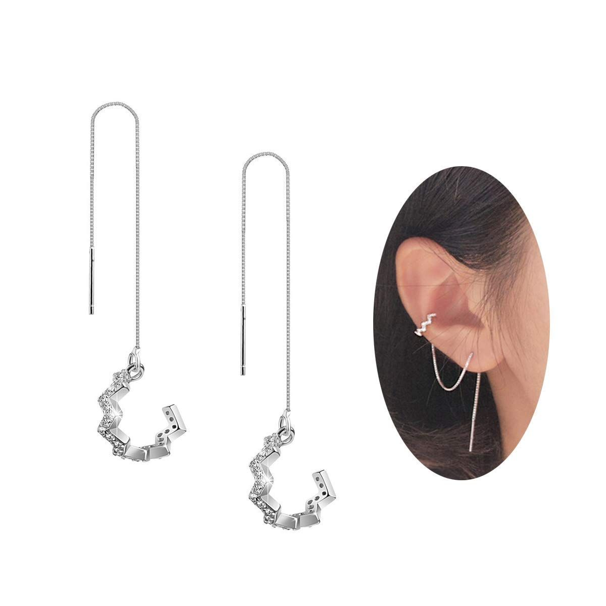 8e29b3e06 FarryDream 925 Sterling Silver New Arrival Wave Cuff Chain Earrings Wrap  Tassel Earrings for Women Perfect Valentine's Day Gifts