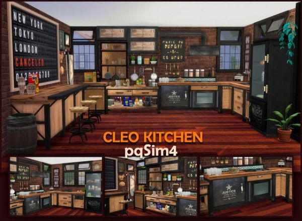 Pqsims4 Cleo Kitchen Industrial Style Sims 4 Downloads