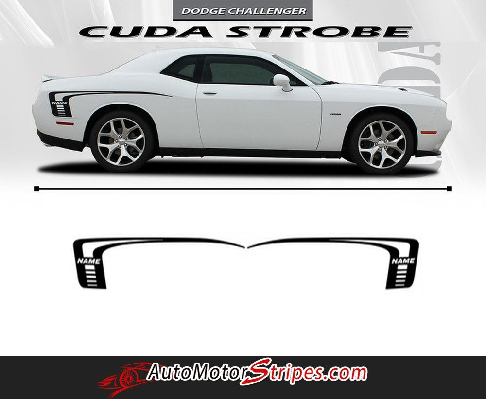 2008 2017 dodge challenger cuda strobe rear sides only mopar oem factory style rear quarter panel rally vinyl graphics 3m stripe kit