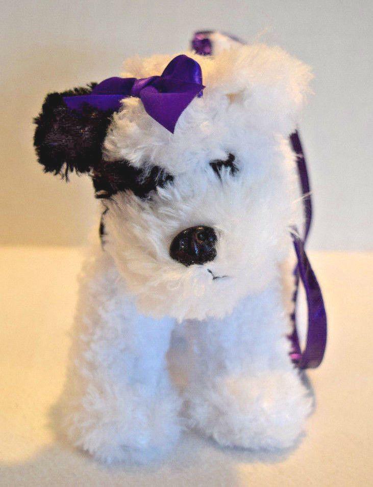 Poochie & Co White Black Dog Plush Purse Carry Strap Toy