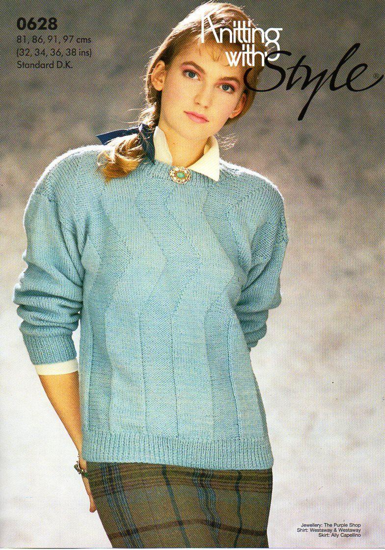 Womens patterned sweater knitting pattern pdf ladies jumper round womens patterned sweater knitting pattern pdf ladies jumper round neck 32 38 dk light bankloansurffo Choice Image