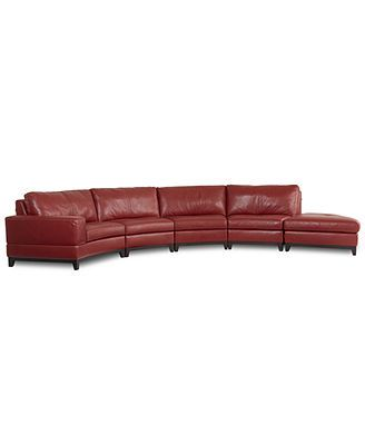 Lyla Leather Curved Sectional Sofa, 5 Piece (Curved Chair, 3 Armless ...
