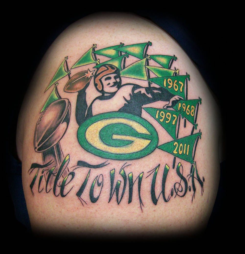 Green Bay Packers Tattoo By Tony Kofakis Crimson Heart Designs Green Bay Packers Tattoo Heart Design Tattoos