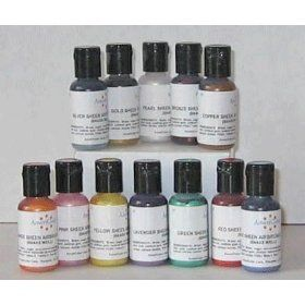 Cake Airbrush Kit Food Colors - 12 Metallic and Pearl colors for ...