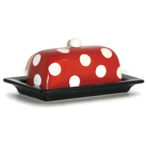 Ceramic Butter Dish In Red And Black With White Polka Dots