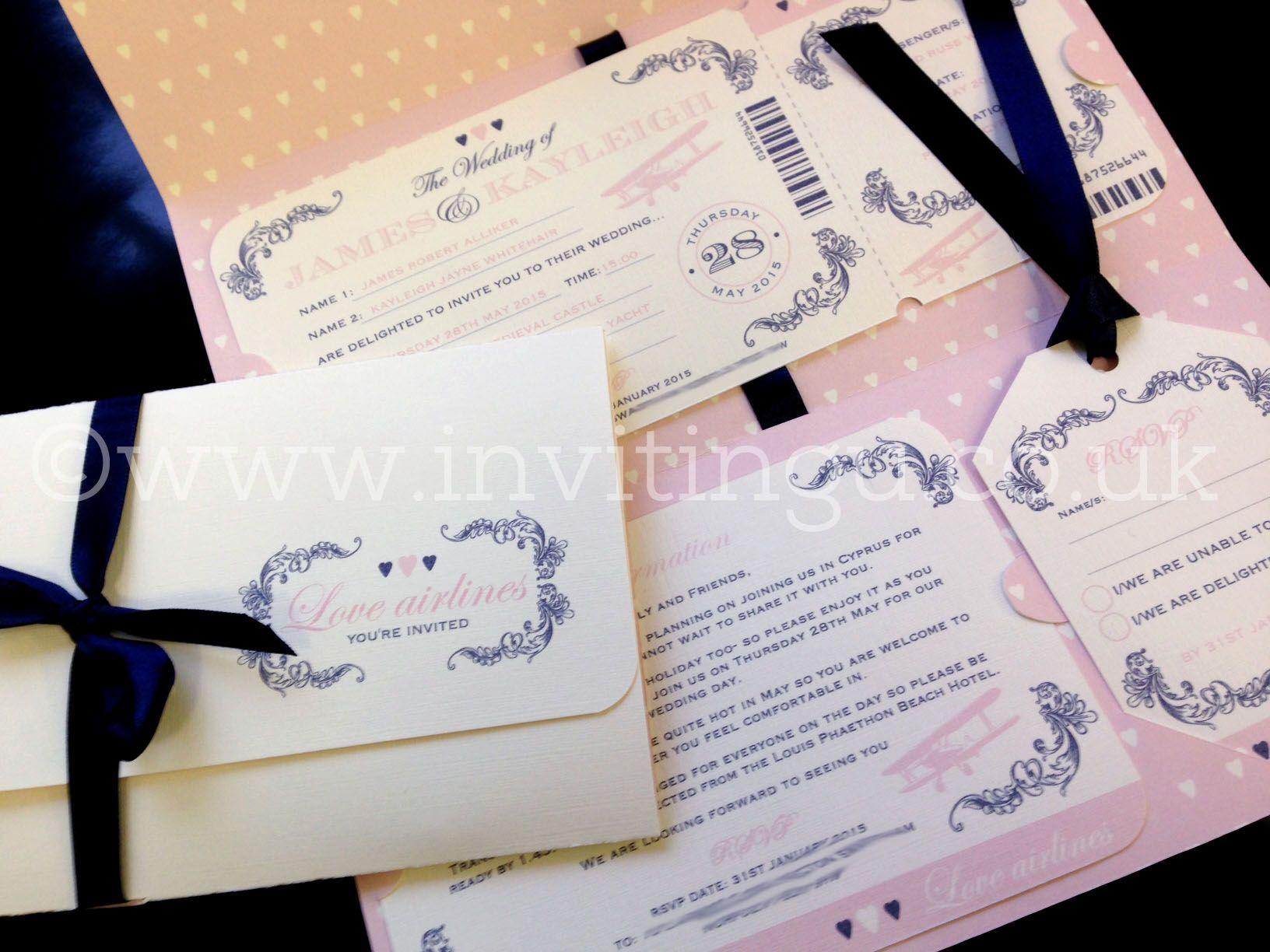 Wedding Boarding Pass Map Invitations | Destination Travel Weddings ...