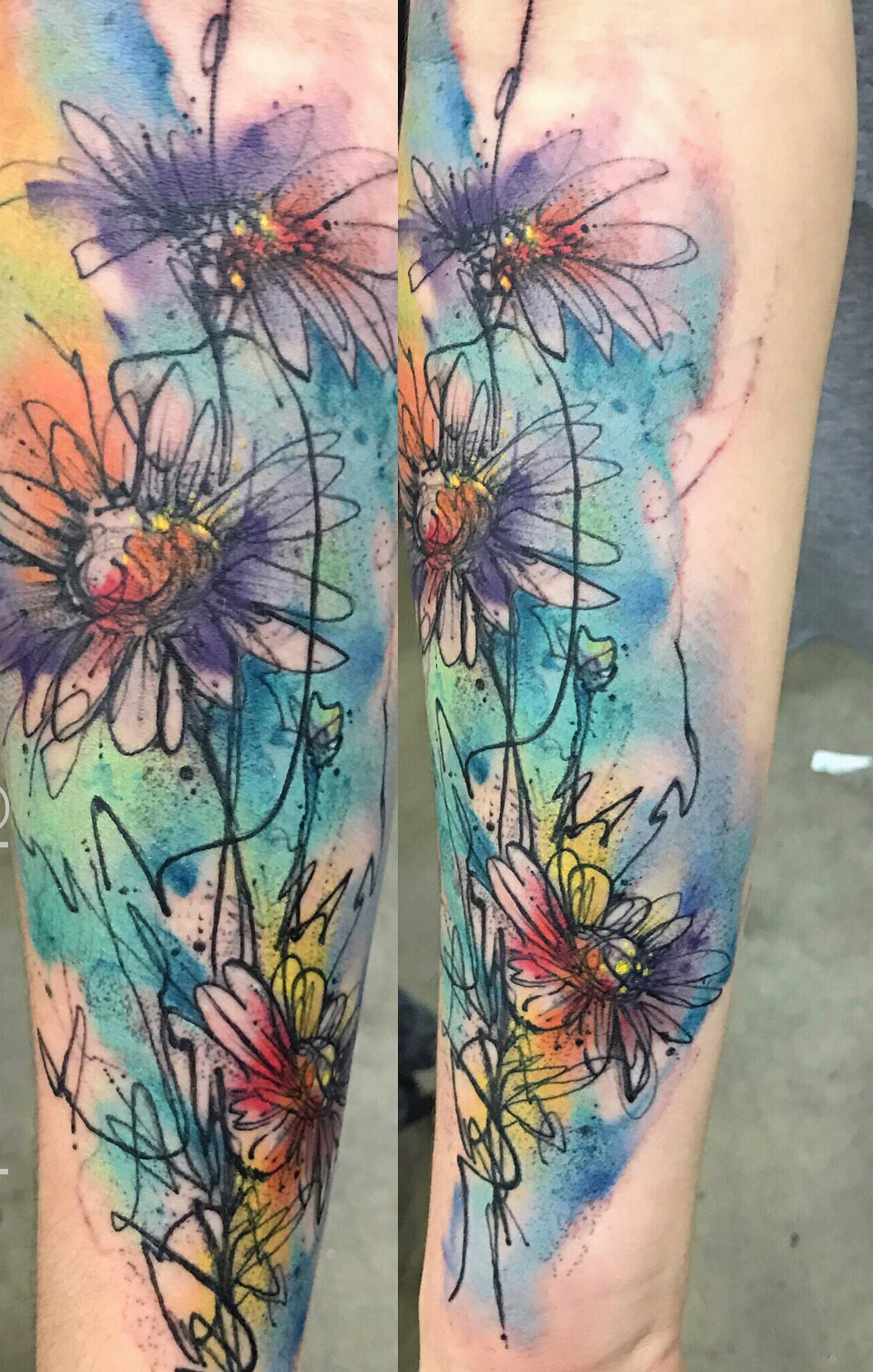 Abstract Daisy Tattoo: Watercolor Daisy Tattoo By Bryan Sanchez From Into The