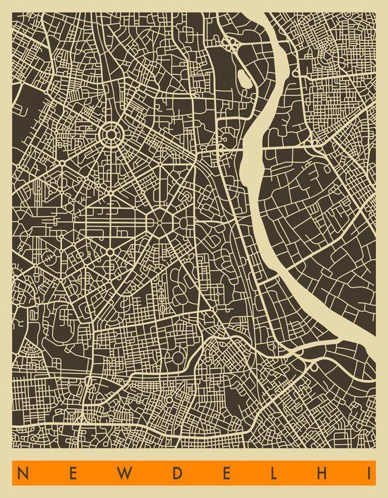 NEW DELHI MAP Art Print Map art, Delhi map, Map art print