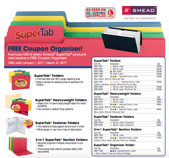 Purchase $50 of select Smead SuperTab products and receive a free Coupon Organizer #rebate
