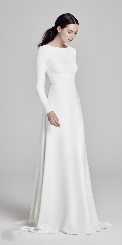 Simple Elegant Satin Floor Length Wedding Dress Round Neck Long Sleeves Bridal Dress Wedding Dress Long Sleeve A Line Wedding Dress Long Sleeve Bridal Dresses