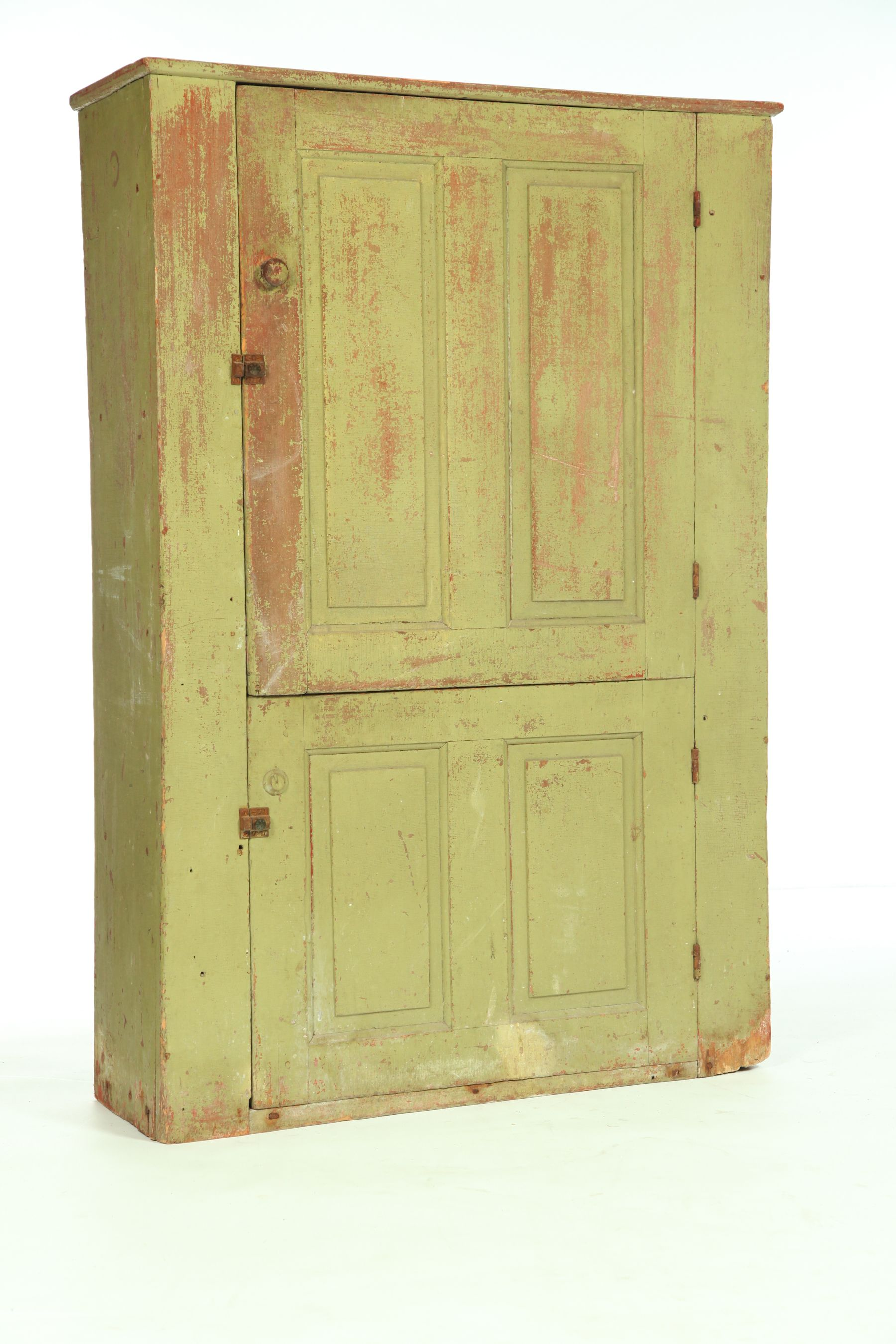 American 1st Half 19th Century Poplar Good Small Size With Four Raised Panel Doors And Old Green Paint Ove Raised Panel Doors Painted Furniture Raised Panel