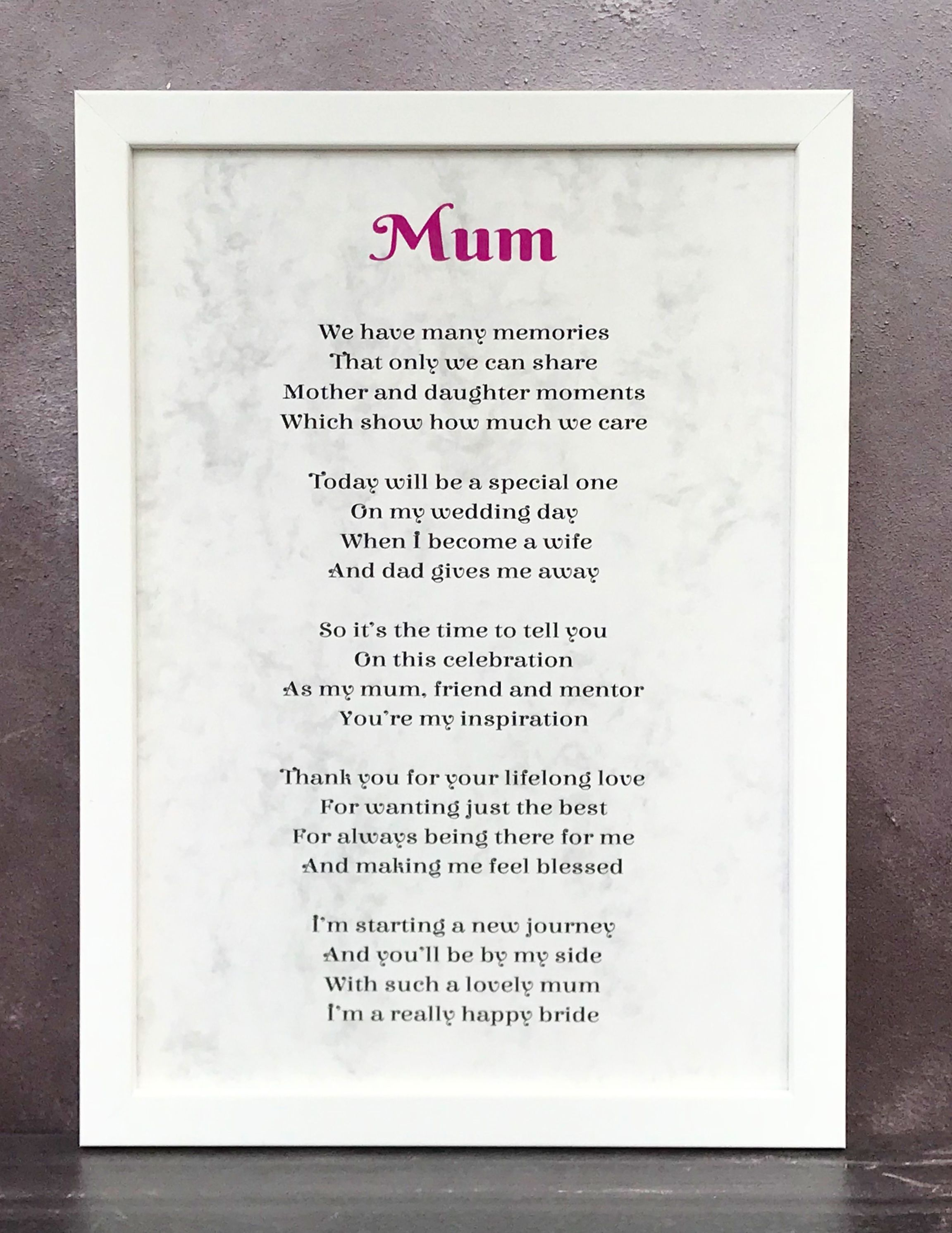 Personalised Wedding Gift for Mum From Daughter Bride Plaque Beautiful  Present
