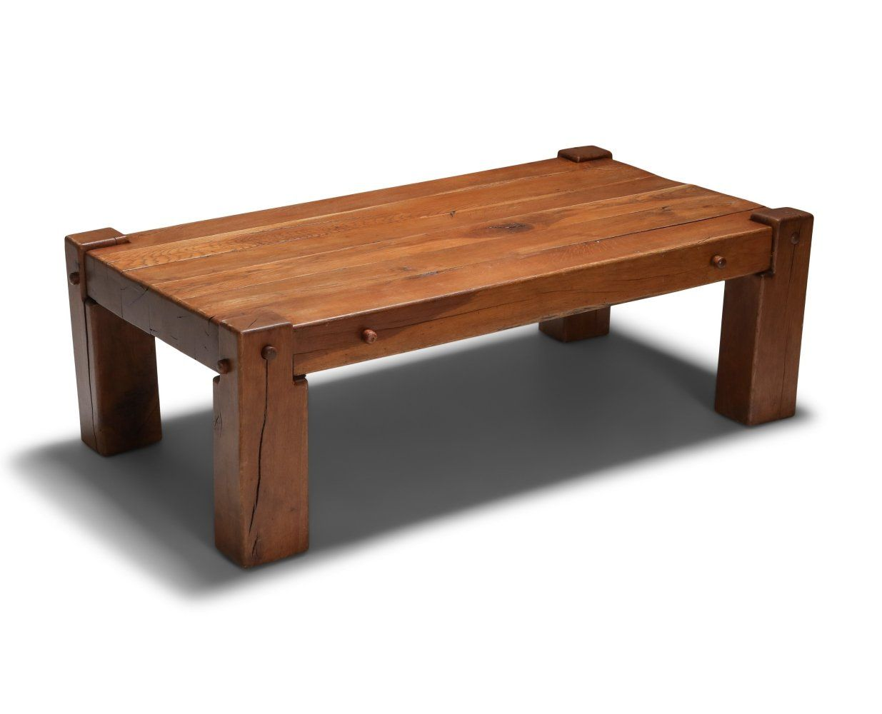 For sale rustic modern coffee table in solid oak 1960s