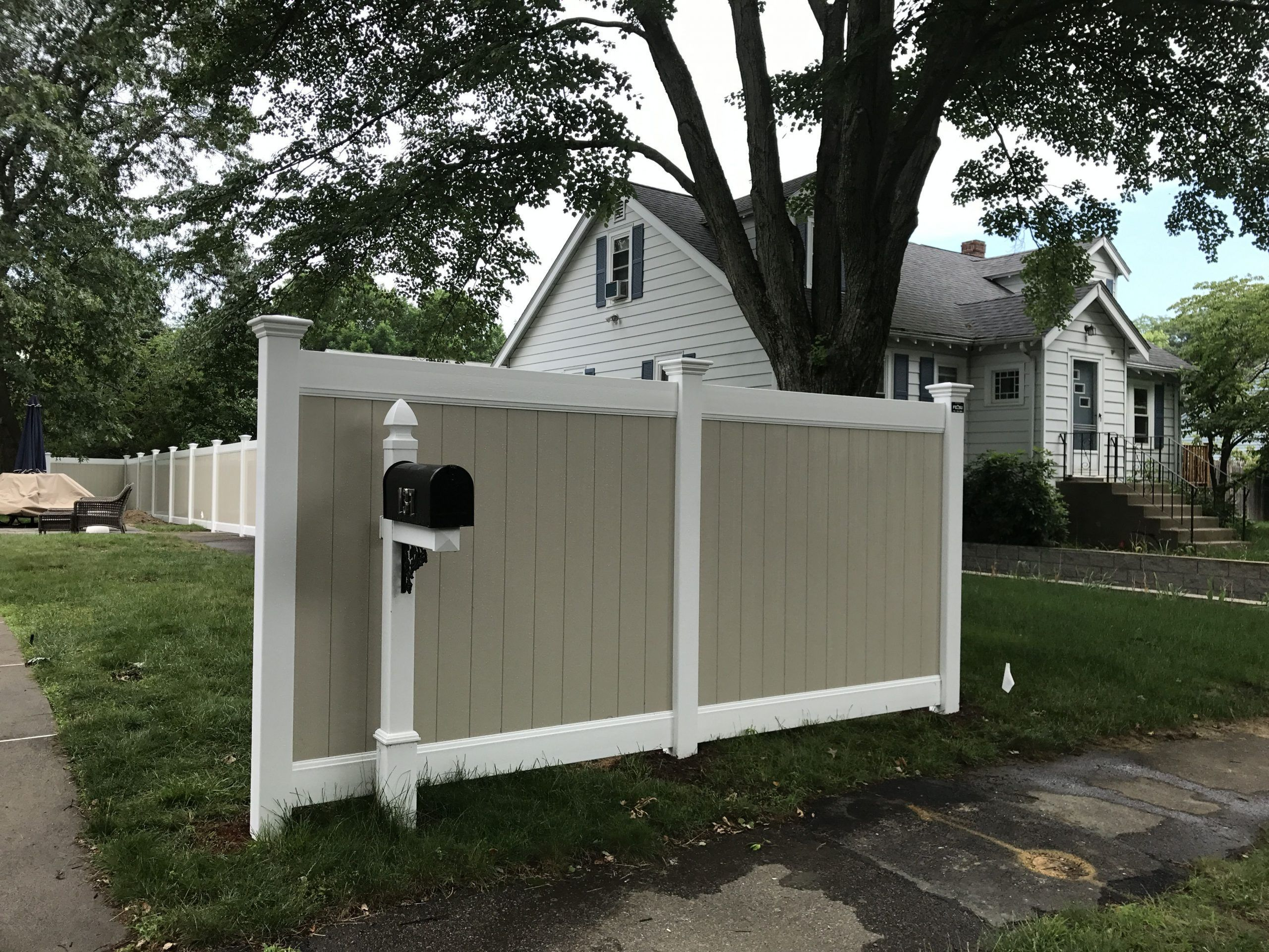 Two Tone Vinyl Privacy Fence In Newton Fence Newton Privacy Tone Vinyl Fence Fence Newton Newtonfence In 2020 Vinyl Privacy Fence Privacy Fence Rustic Fence