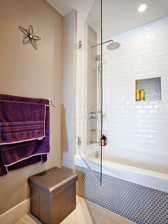 Beautiful Children Bathroom For Little Girls Modern Design Glass Shower Door Purple Towel Children S Bathroom Girl Bathrooms Childrens Bathroom Bathroom Kids