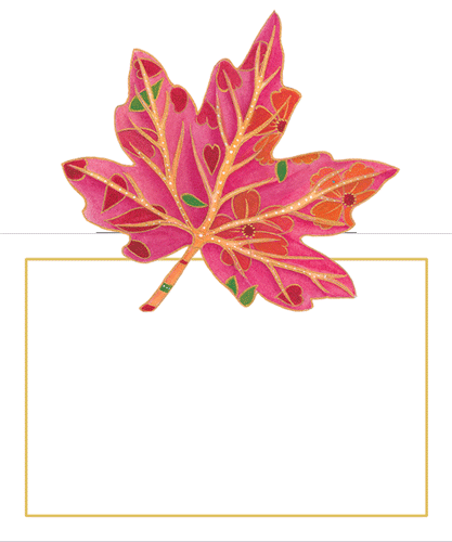 Caspari Jeweled Autumn Foliage Designer Printed Die-Cut Place Cards Wholesale 85938P