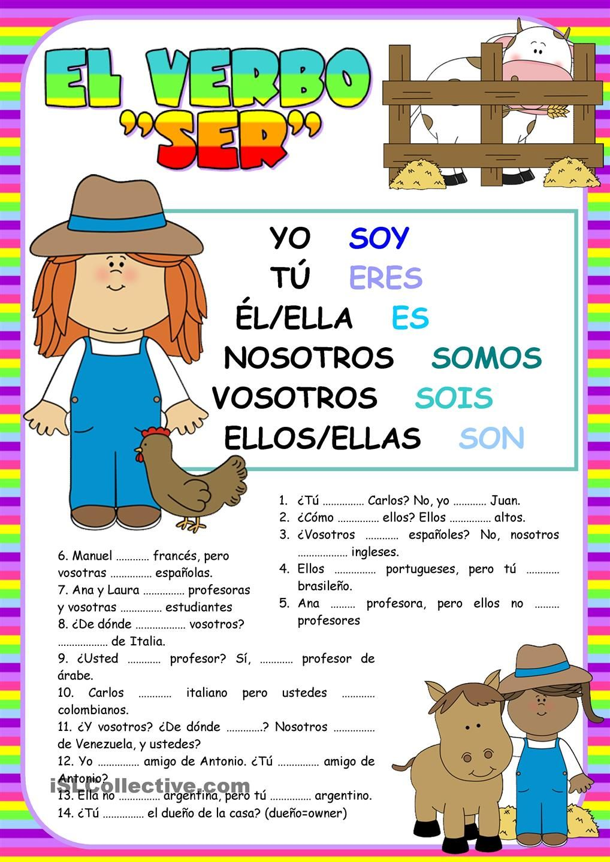 El verbo SER | gramatica | Pinterest | Verbo es, El verbo y Verbos