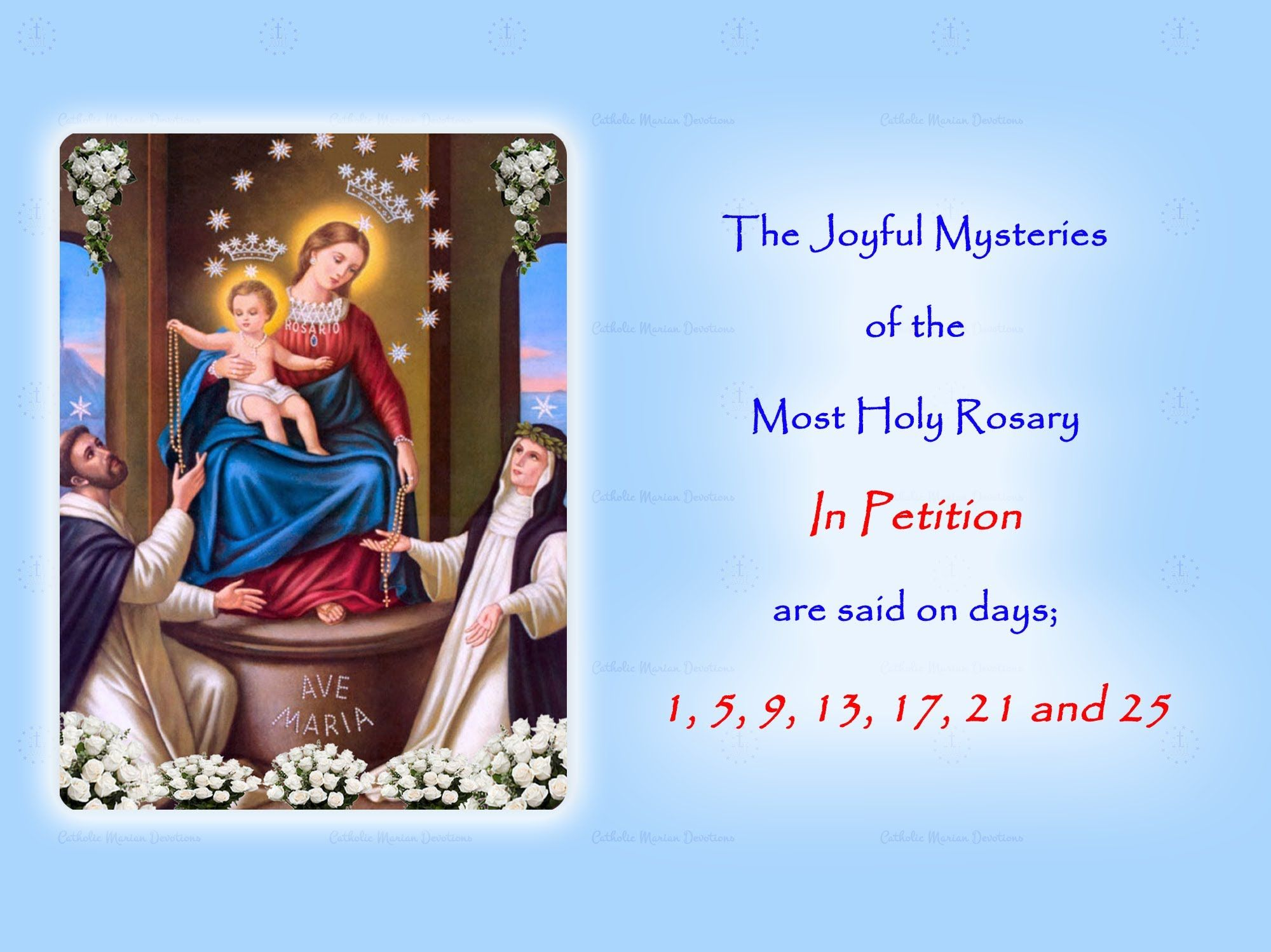 The Joyful Mysteries ~ In Petition ~ Annual 54 Day Rosary ...