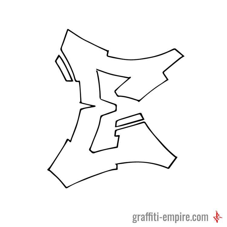 Semi Wildstyle E Graffiti Letter Done With Pencil On Paper And 05 Multi Liner Copic Marker
