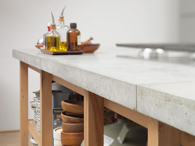 Concrete Counter With Wooden Frame Is Lovely Love The Mix