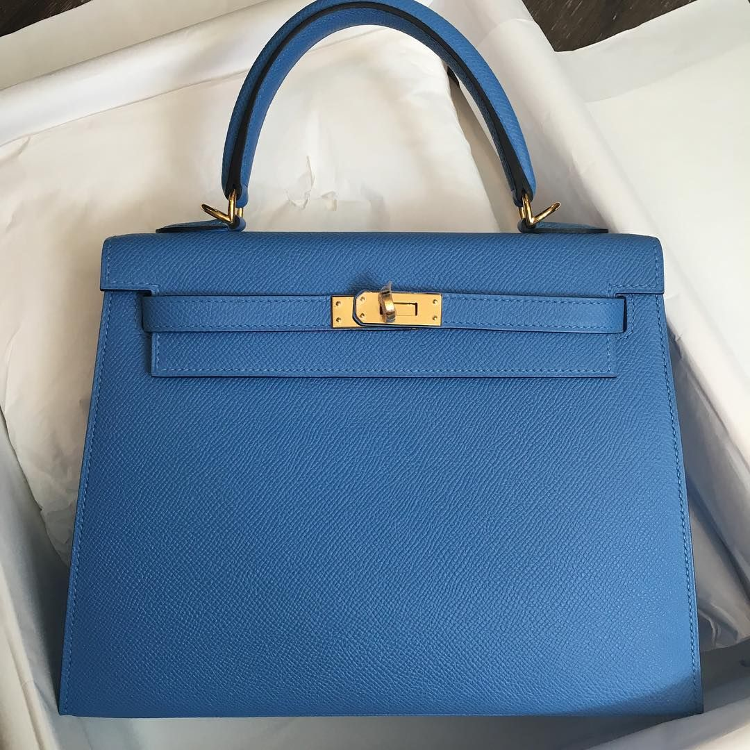 fb84072a2d07 Hermes 25cm Kelly Sellier in bleu paradis Epsom leather Gold hardware