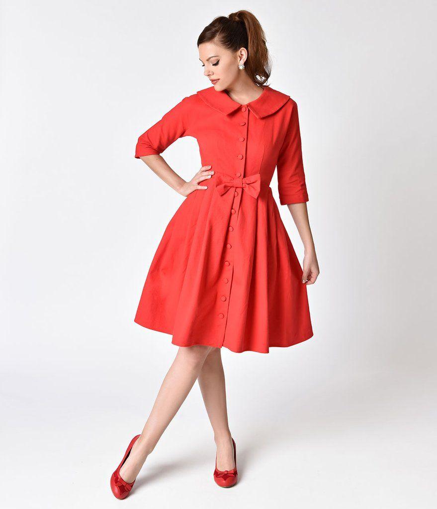 S style red button up sleeved hedren coatdress coatdress